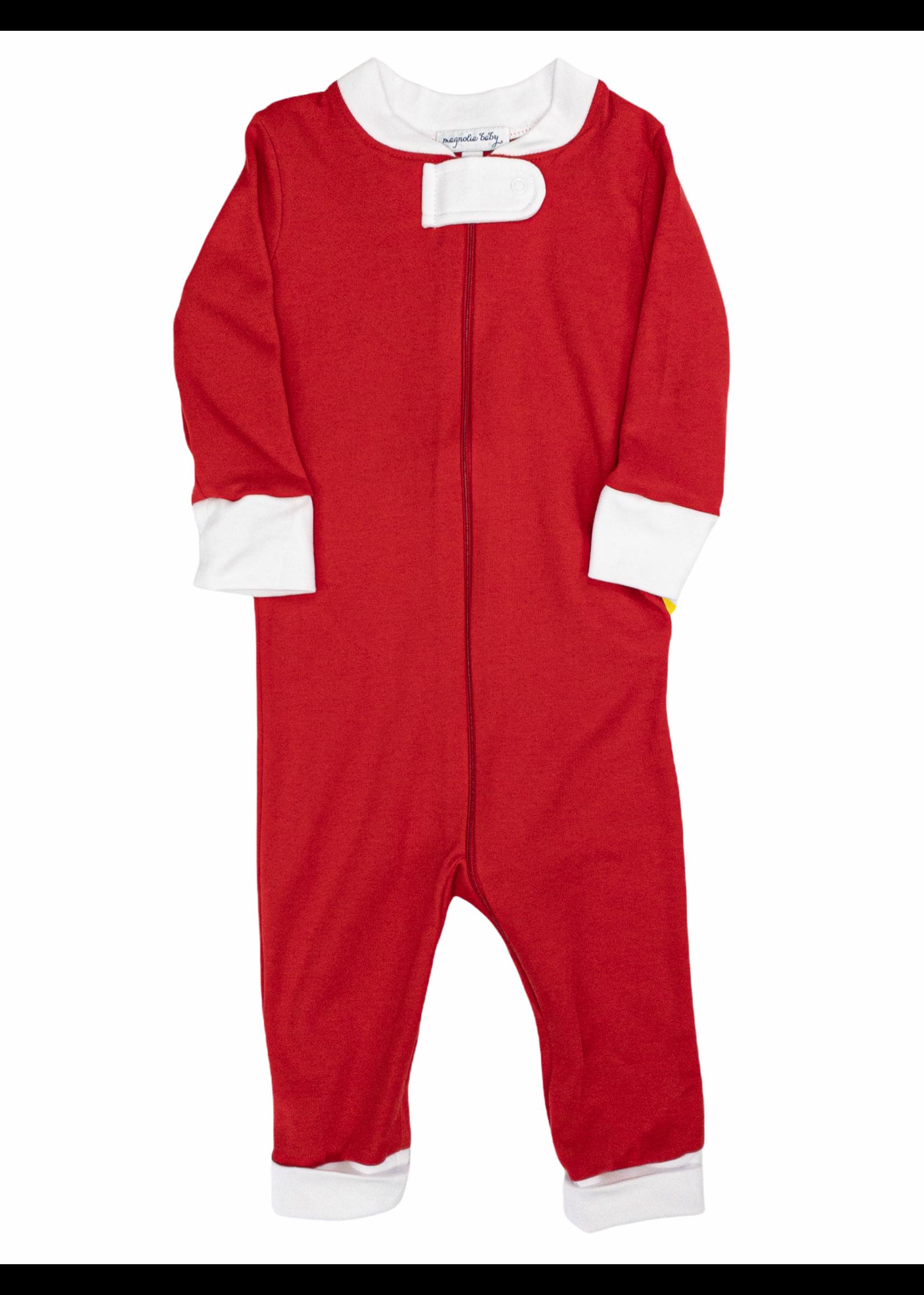 Magnolia Baby Solid Red Basics Zipped Pajama