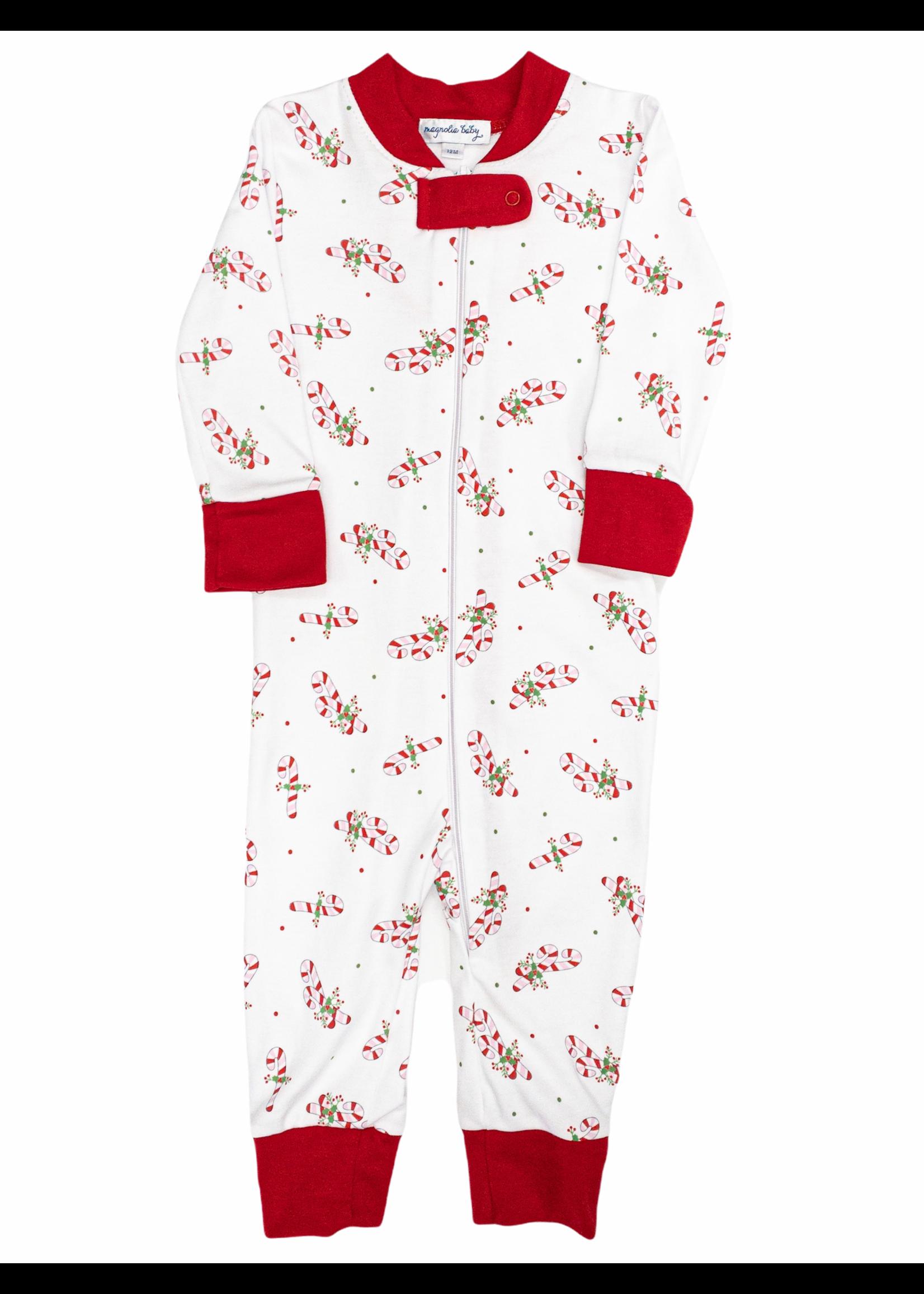 Magnolia Baby Vintage Candy Cane Zipped Pajama