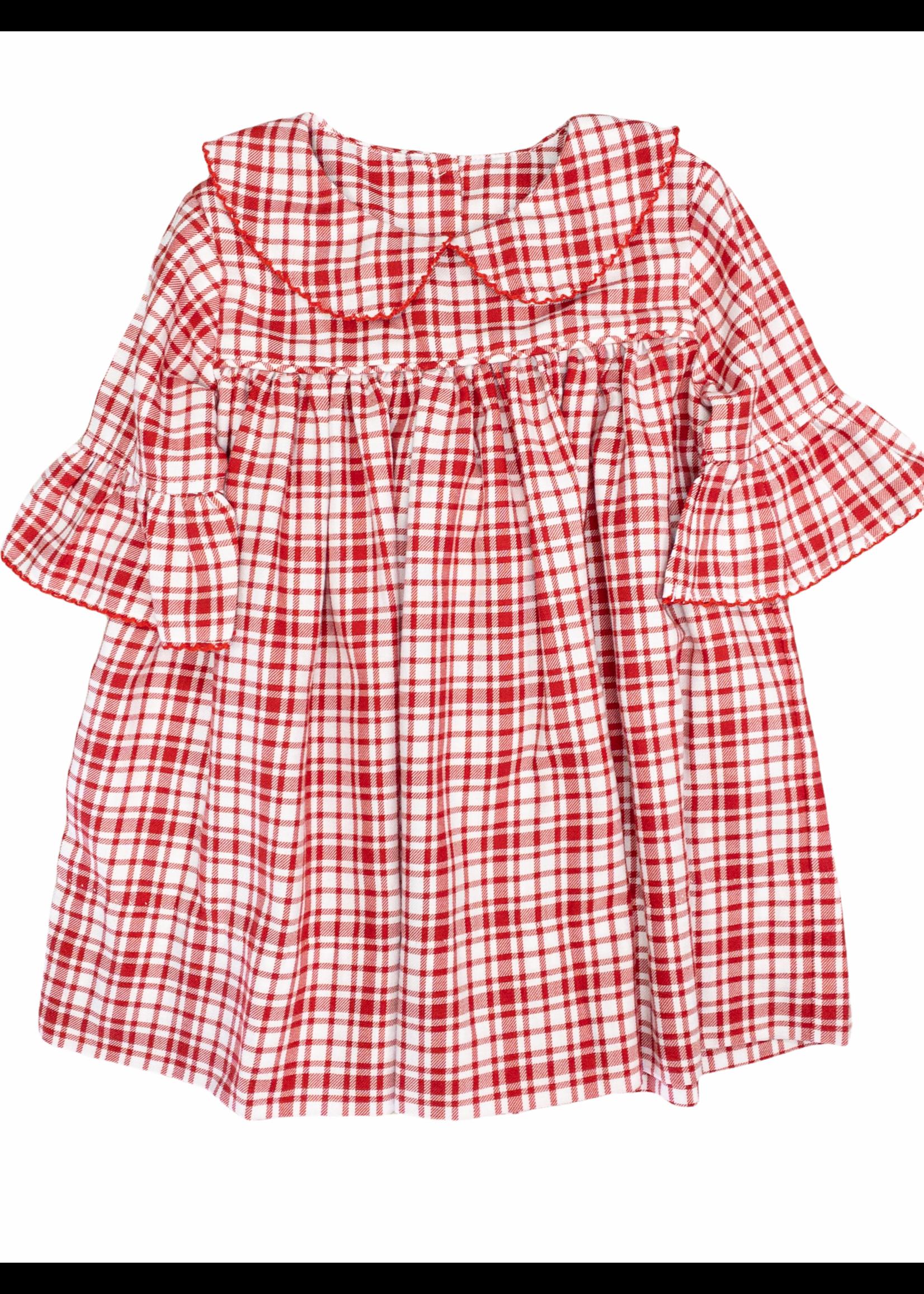 Delaney Girls Red Plaid Peter Pan Dress