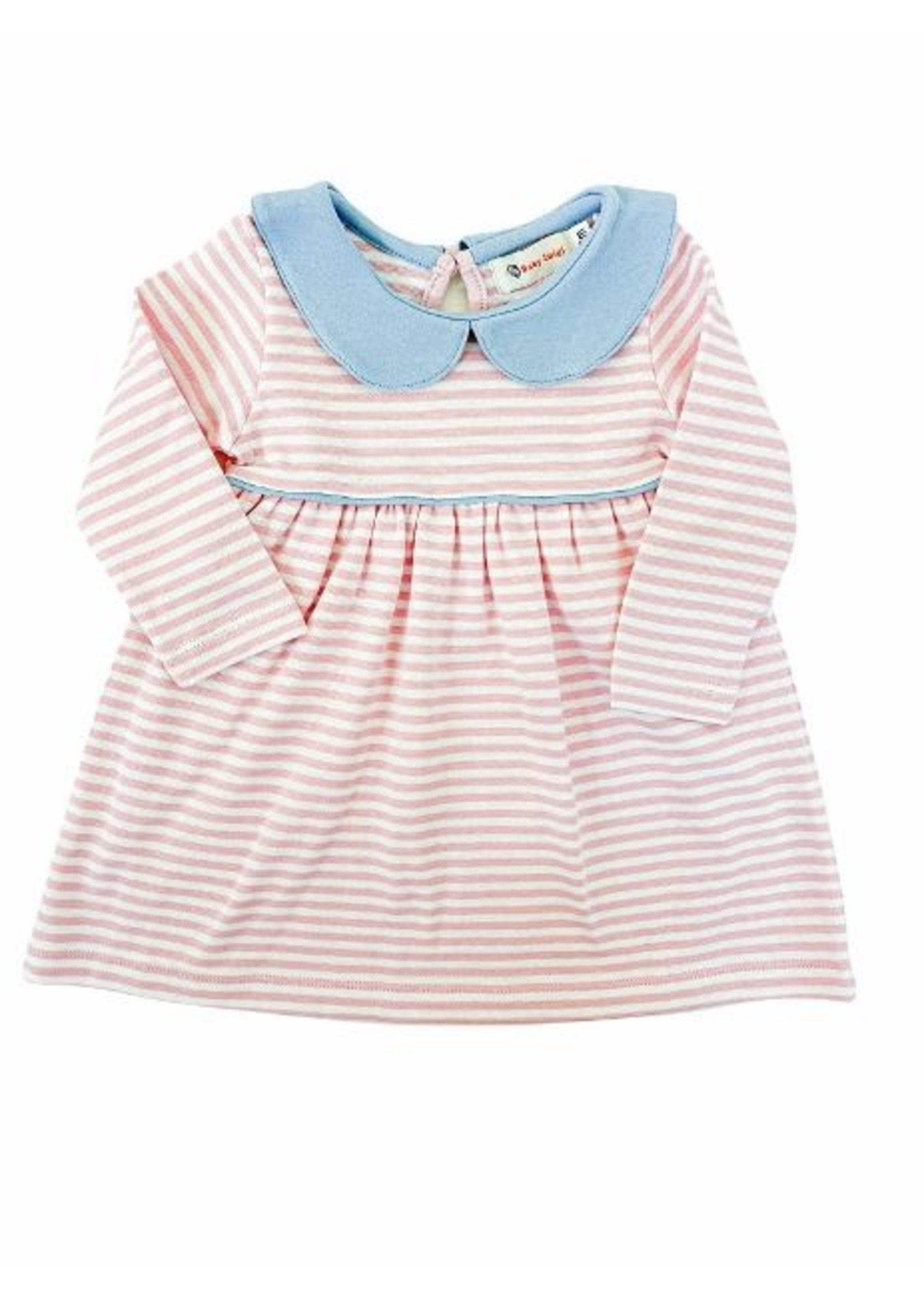 Luigi Pink & White Stipe Dress w/ blue trim
