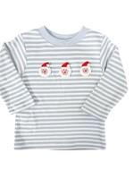 Claire and Charlie Santa Claus Blue Stripe LS Shirt