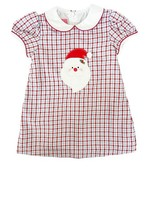 Claire and Charlie Santa Face Dress Red/Blue Plaid