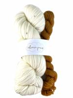 Akara Yarns Akara Yarns Sock Kit - Snowy Owl / Moccachino