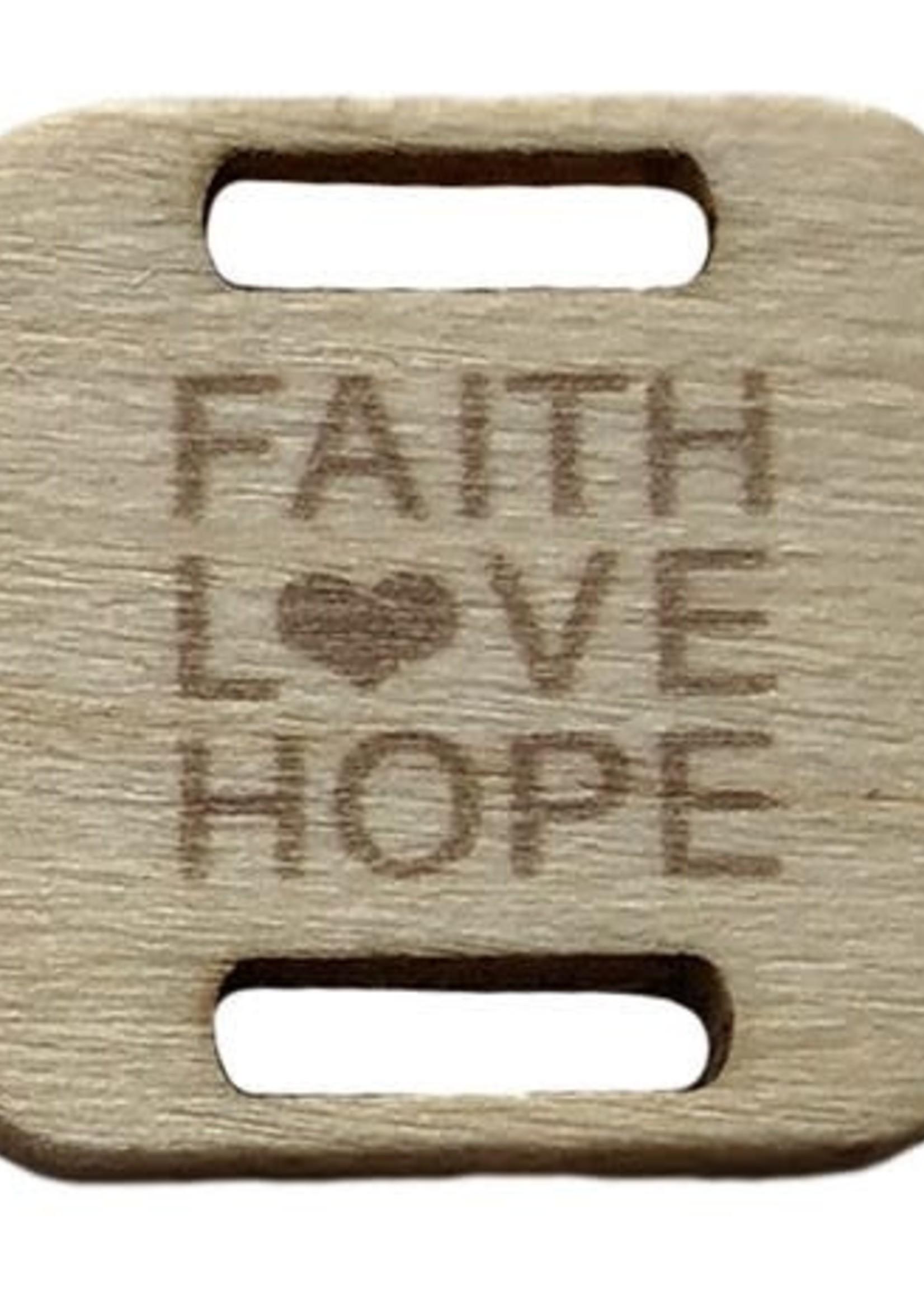 Birch Wood Garment Tag - Faith, Love, Hope - Square