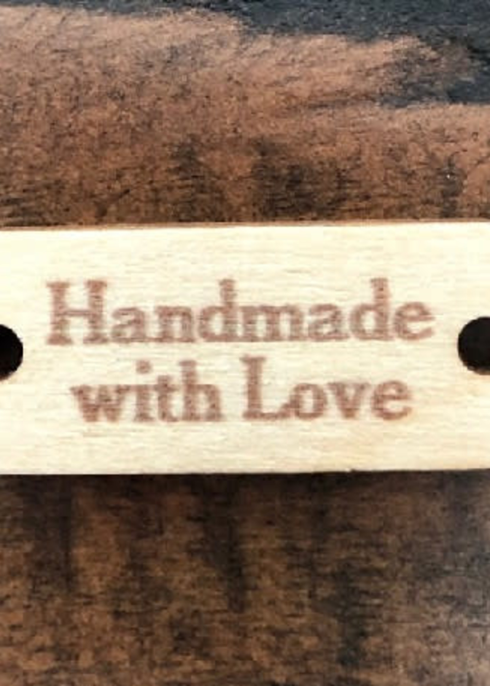 Birch Wood Garment Tag - Handmade with Love - Rectangle