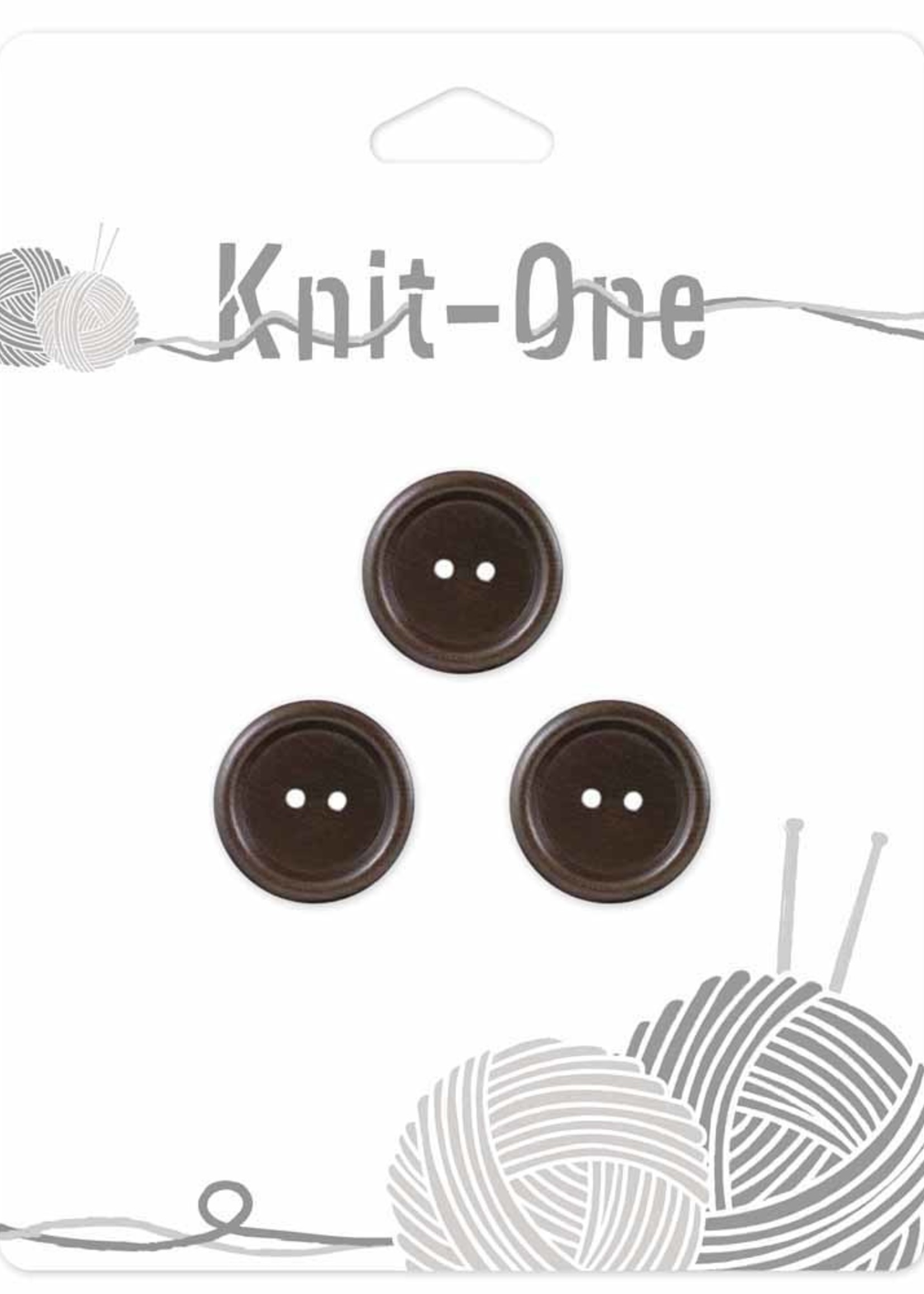 Knit-One Knit-One Button - 2 Hole Wood Button - 18mm (3⁄4″) - Brown