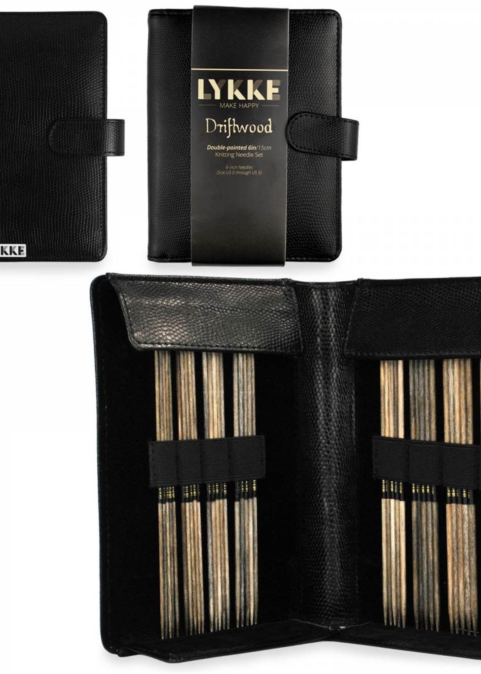"Lykke Needles Lykke Double Pointed Set - 6"" Driftwood Small - Black Faux Leather Case"