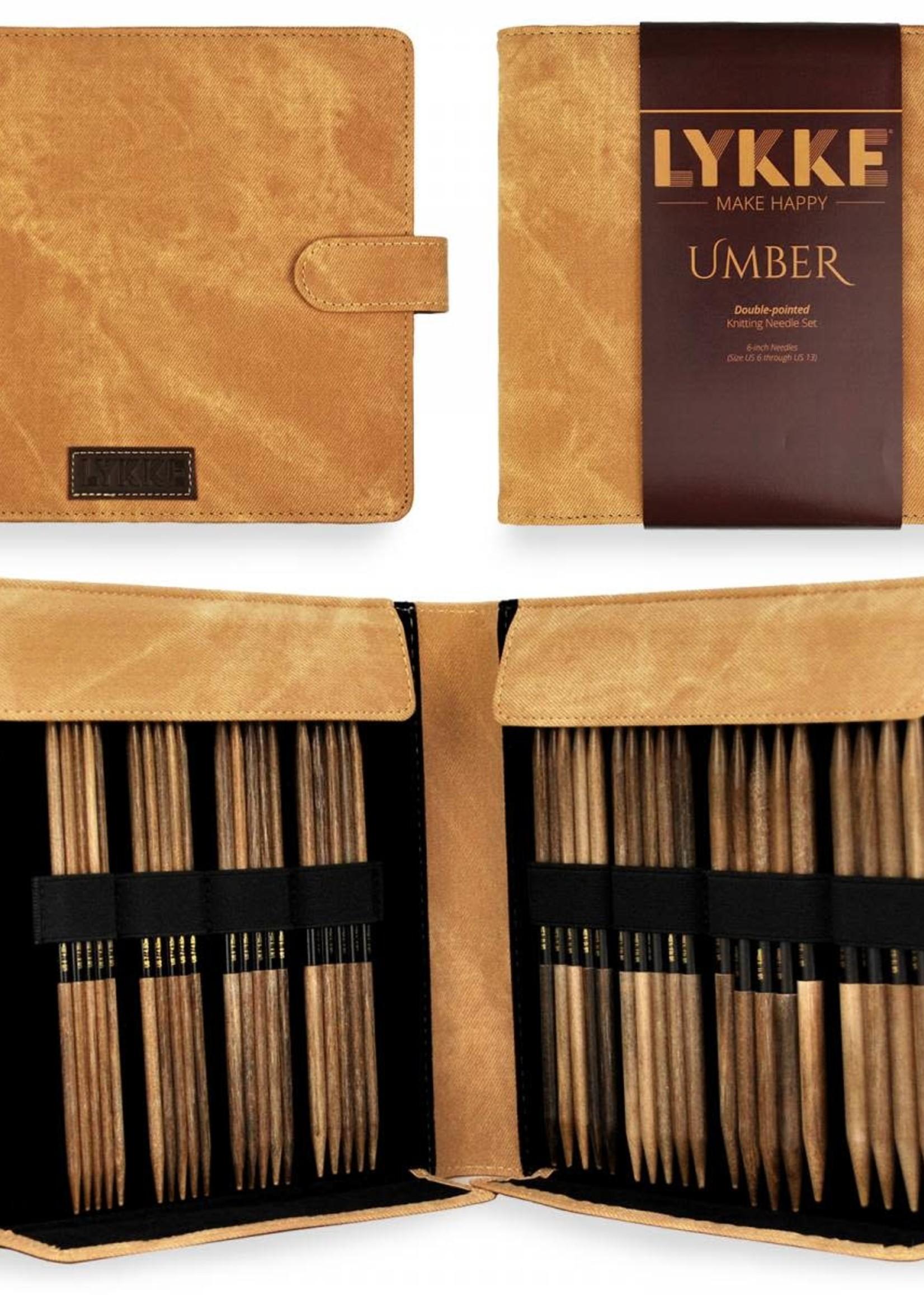 """Lykke Needles Lykke Double Pointed Set - 6"""" Umber Driftwood Large - Umber Case"""