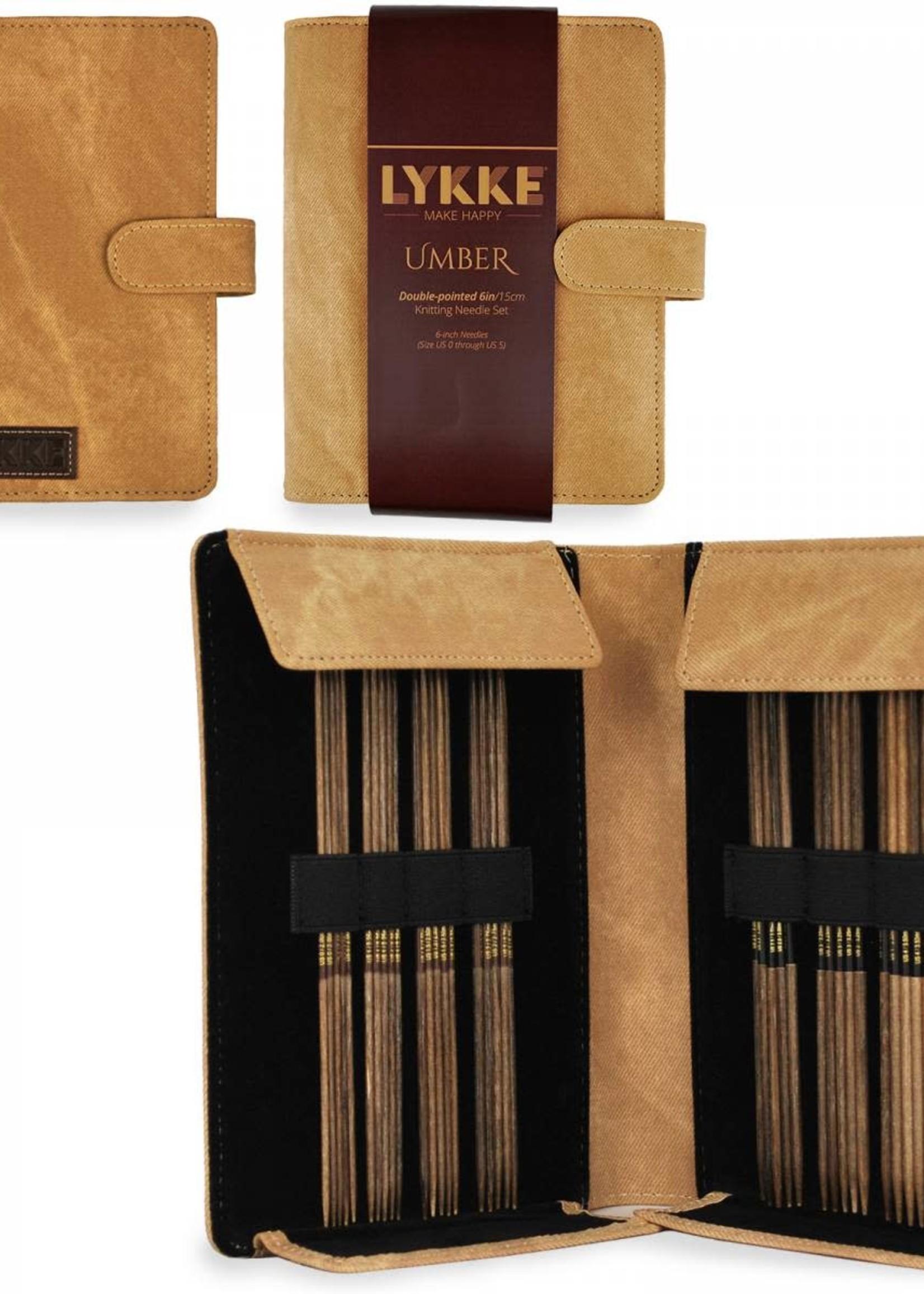 "Lykke Needles Lykke Double Pointed Set - 6"" Umber Driftwood Small - Umber Case"