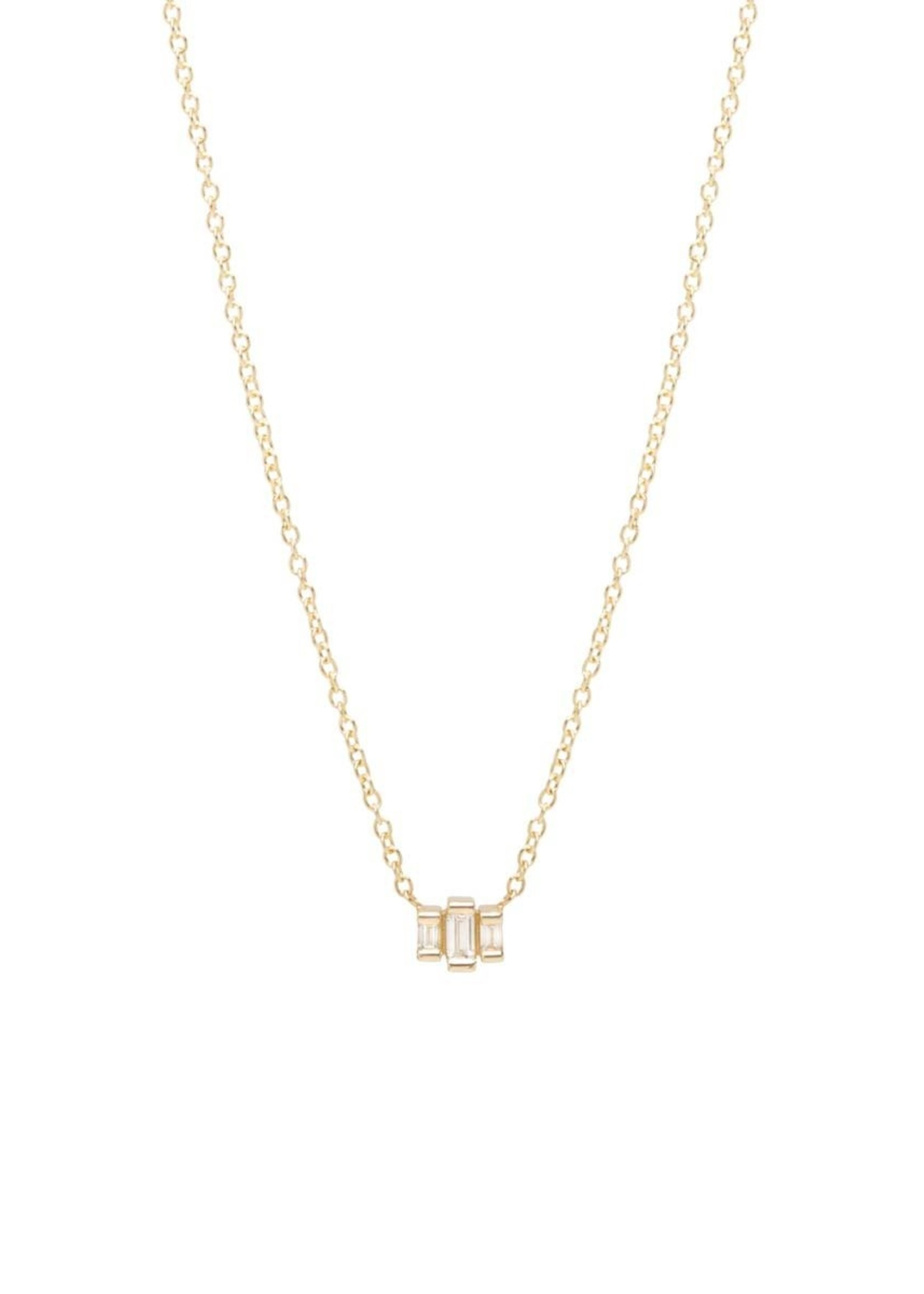ZOE CHICCO 14K GOLD SMALL 3 STEP BAGUETTE NECKLACE