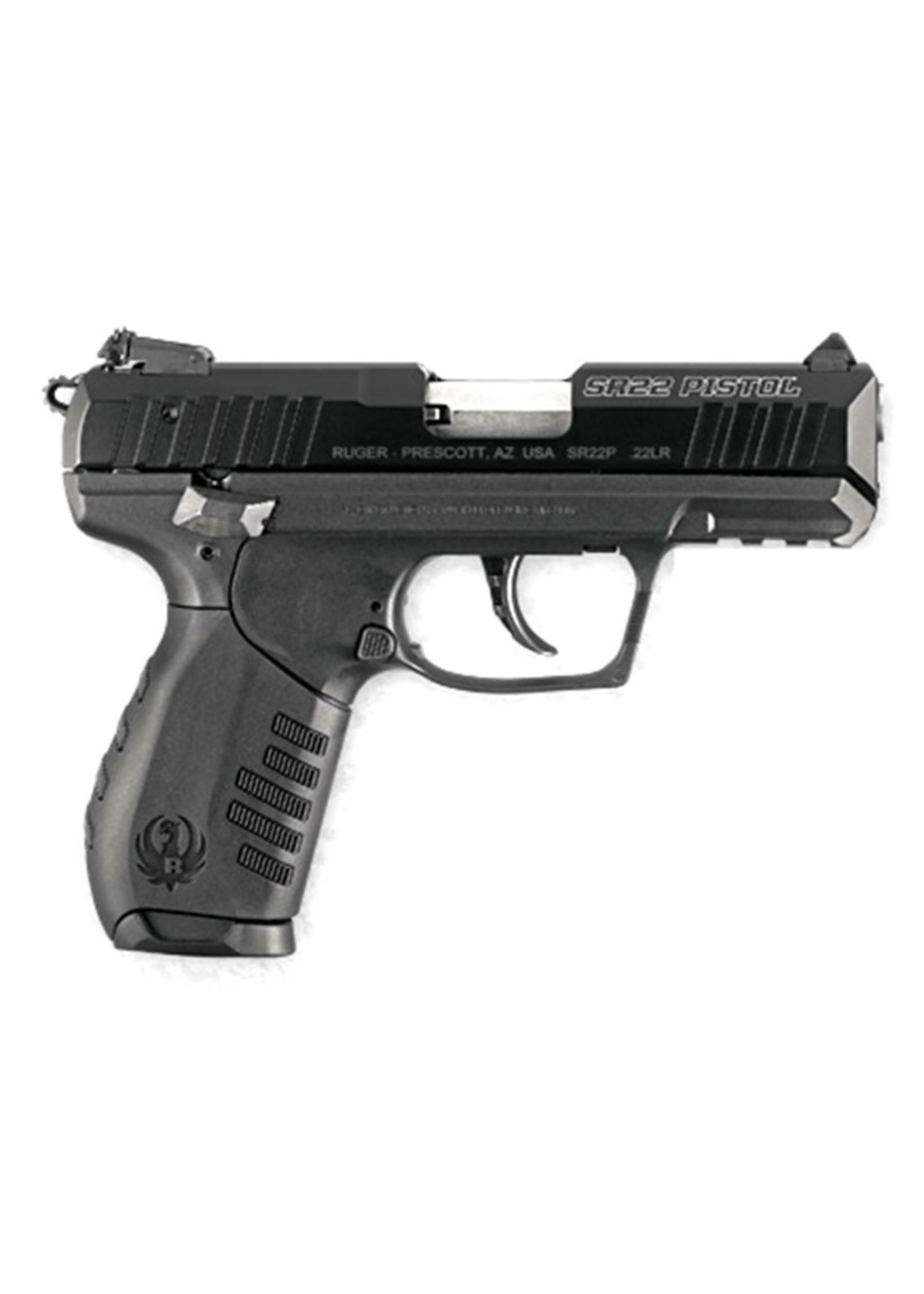 """Ruger Ruger SR22, 22LR, 3.5"""" Barrel, Adjustable 3-Dot Sights, Black, (2) 10-round Magazines"""