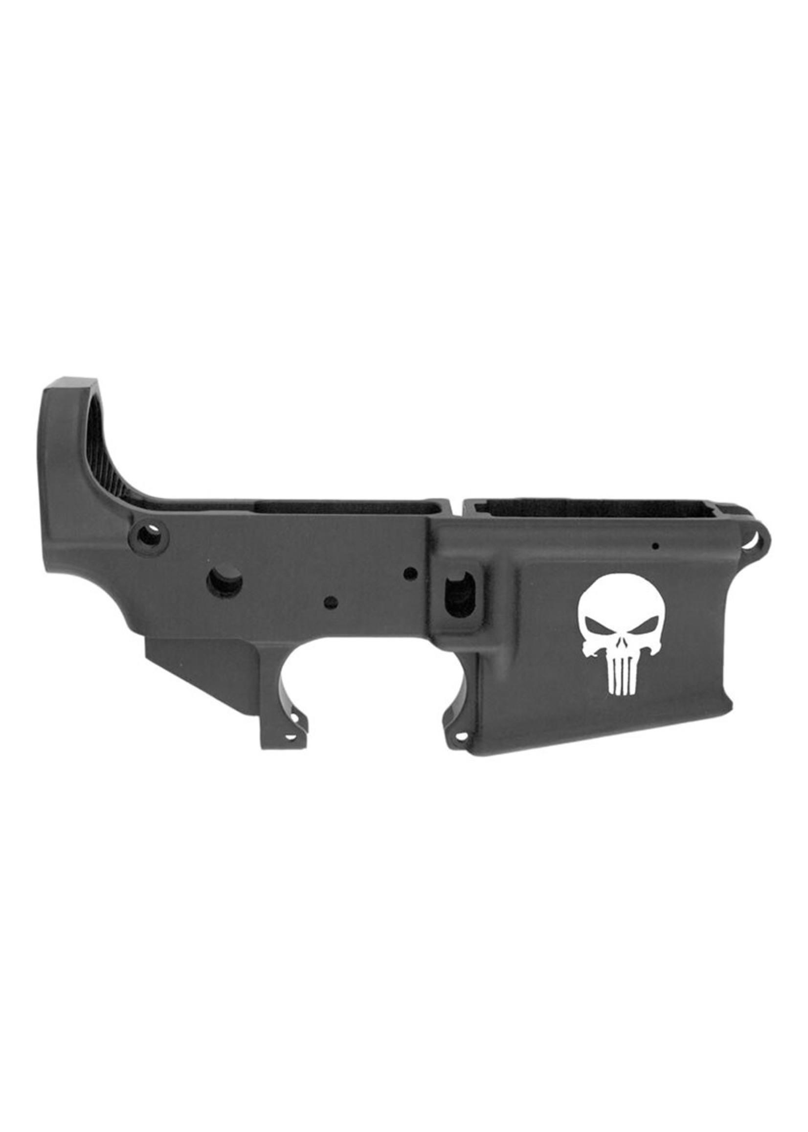 Anderson Manufacturing Anderson Mfg AR-15 Lower Receiver, open, semi-auto, multi-caliber, black, Punisher logo