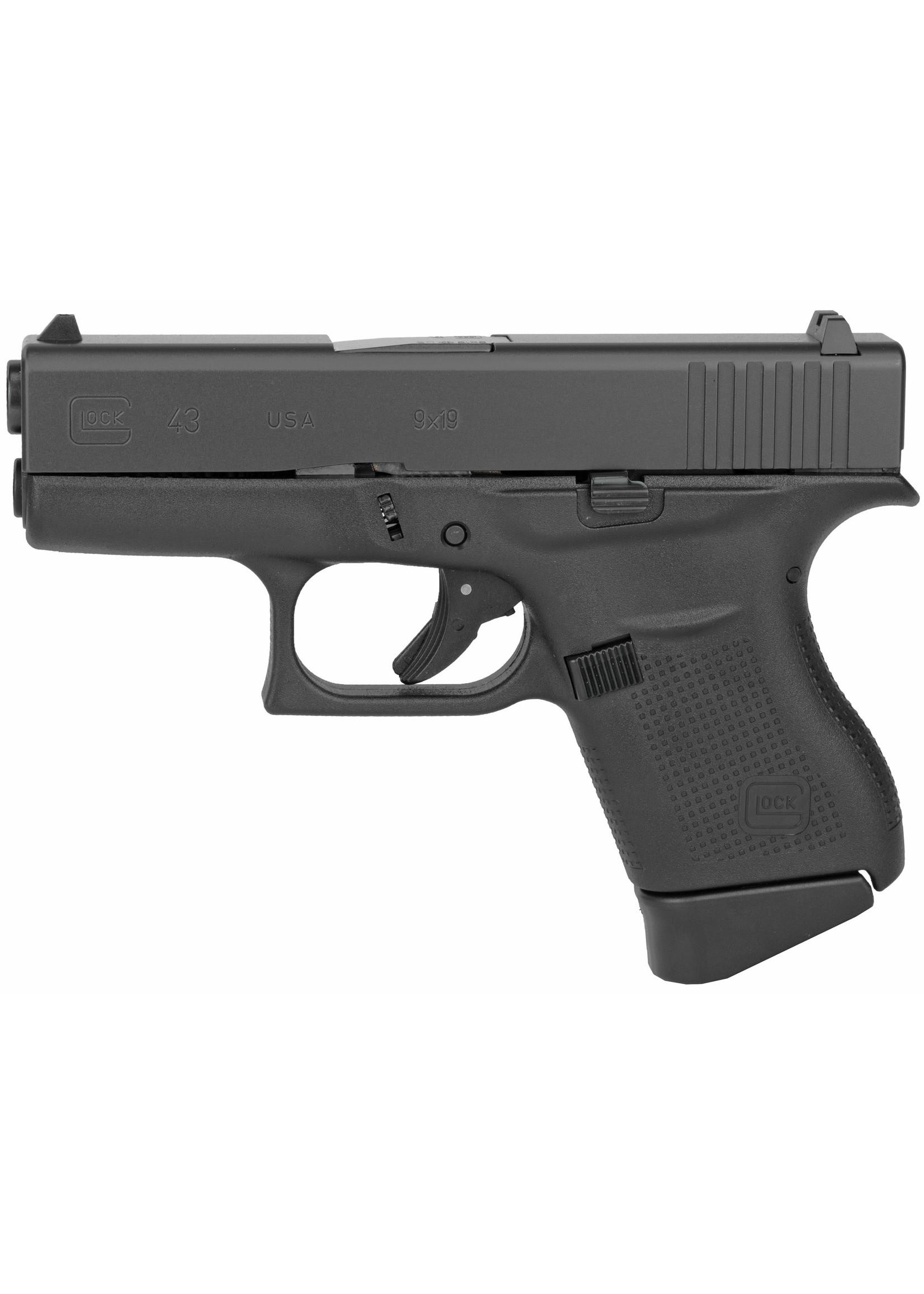 "Glock Glock 43, 9MM, 3.41"" Barrel, Polymer Frame, Matte Finish, Fixed Sights, 6Rd, 2 Magazines"