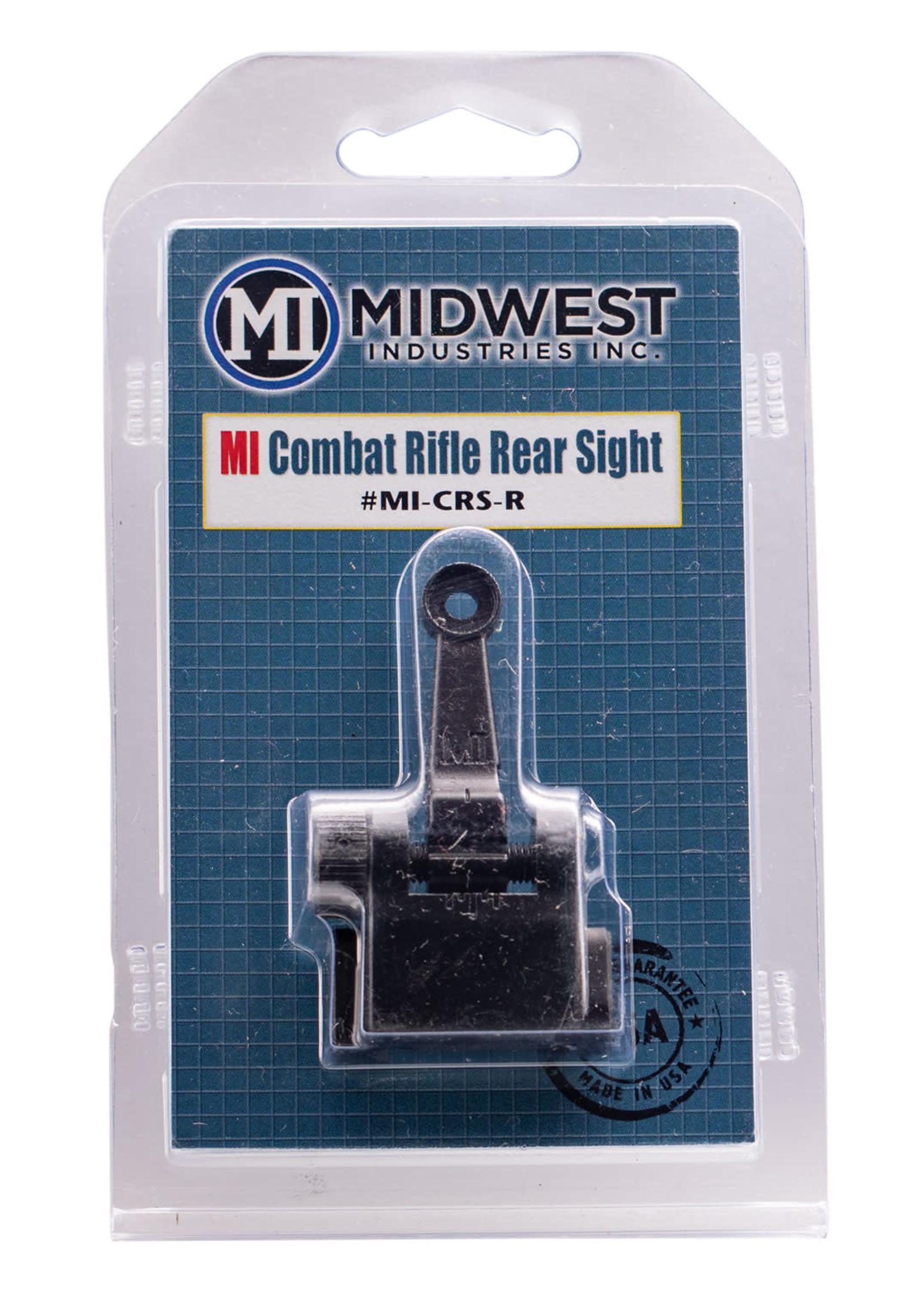 Midwest Industries Midwest Industries Combat Rifle Rear Sight AR-15, M4, M16 Black Hardcoat Anodized Flip Up Steel/Aluminum