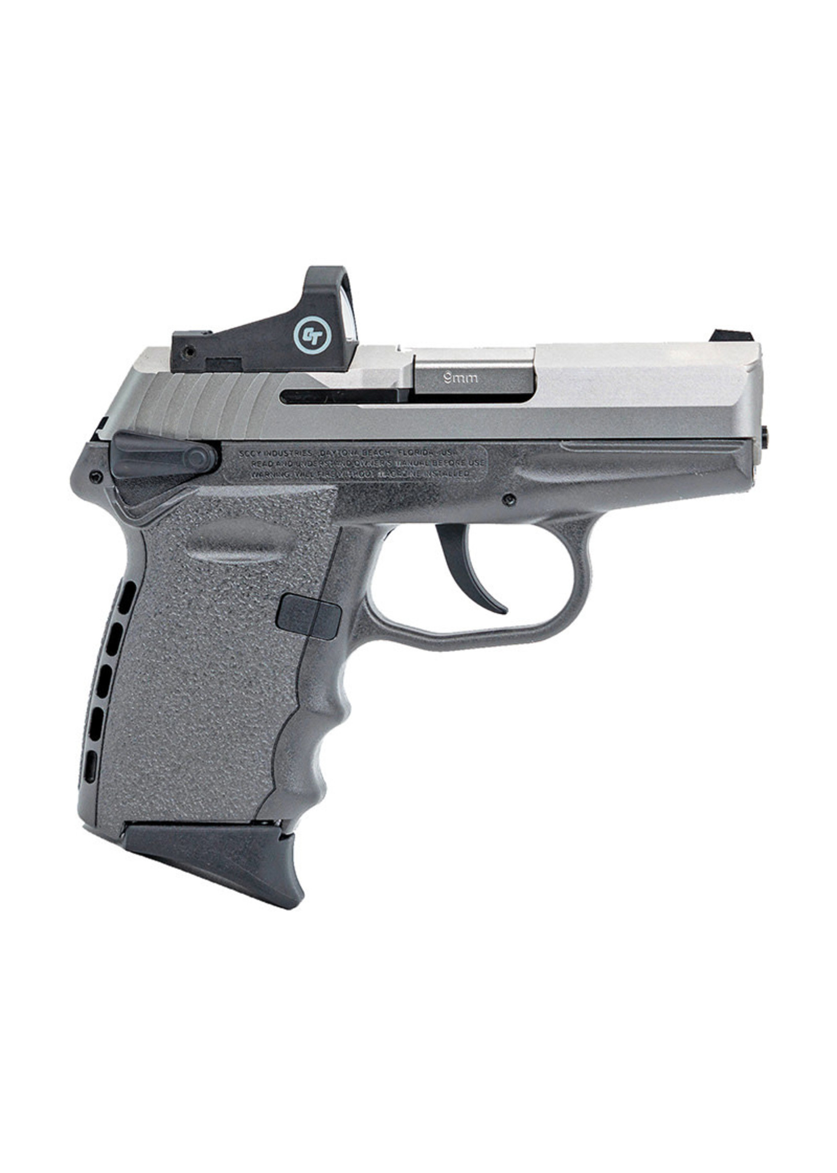 """Sccy Sccy Industries - CPX-1, 9mm, 3.1"""" Barrel, Red Dot Sight, Stainless/Gray, (2) 10-rd Mags"""