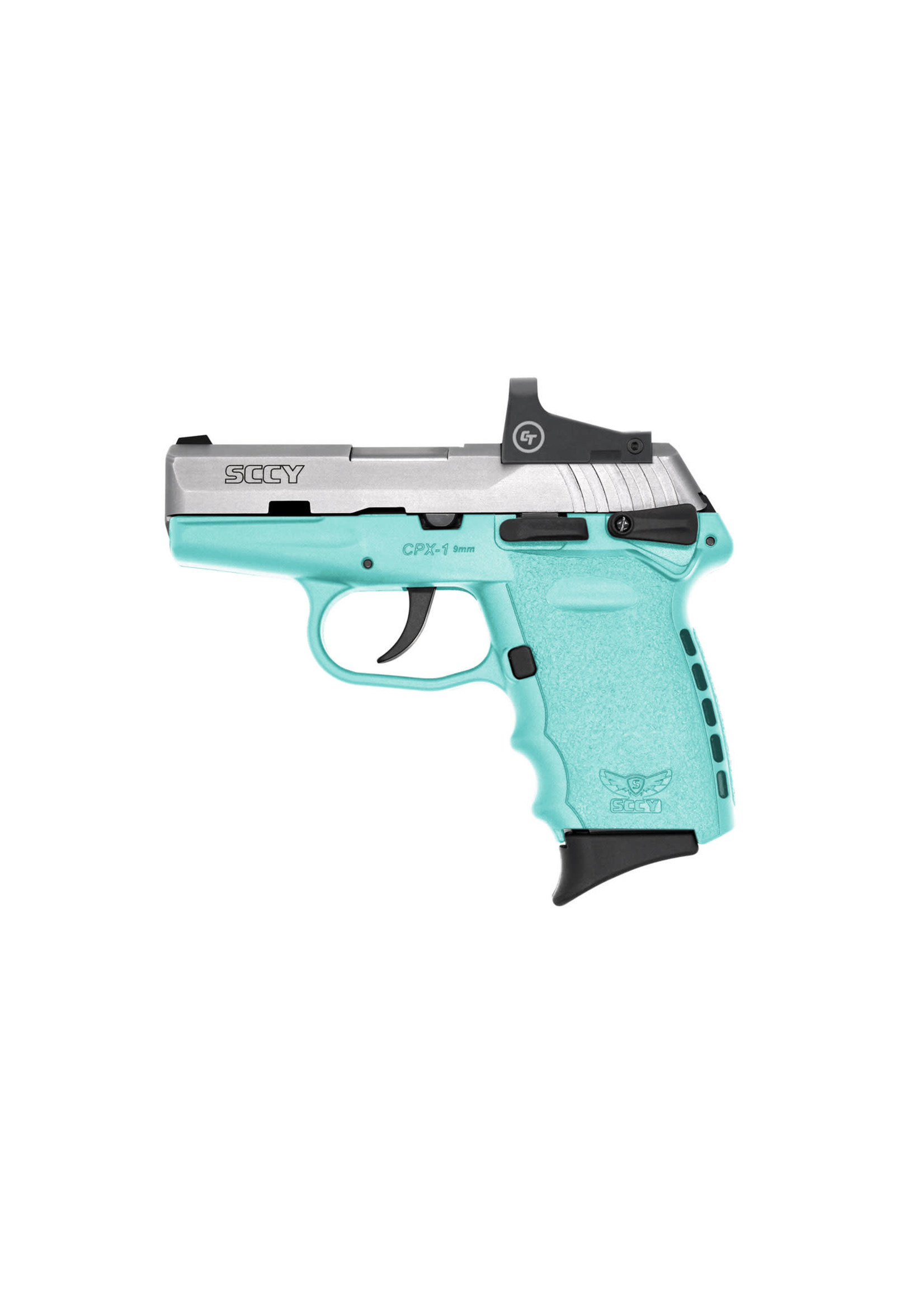 """Sccy Sccy Industries - CPX-1, 9mm, 3.1"""" Barrel, Red Dot Sight, Two-Tone - Stainless + Robin Egg Blue, Two 10-rd Mags"""