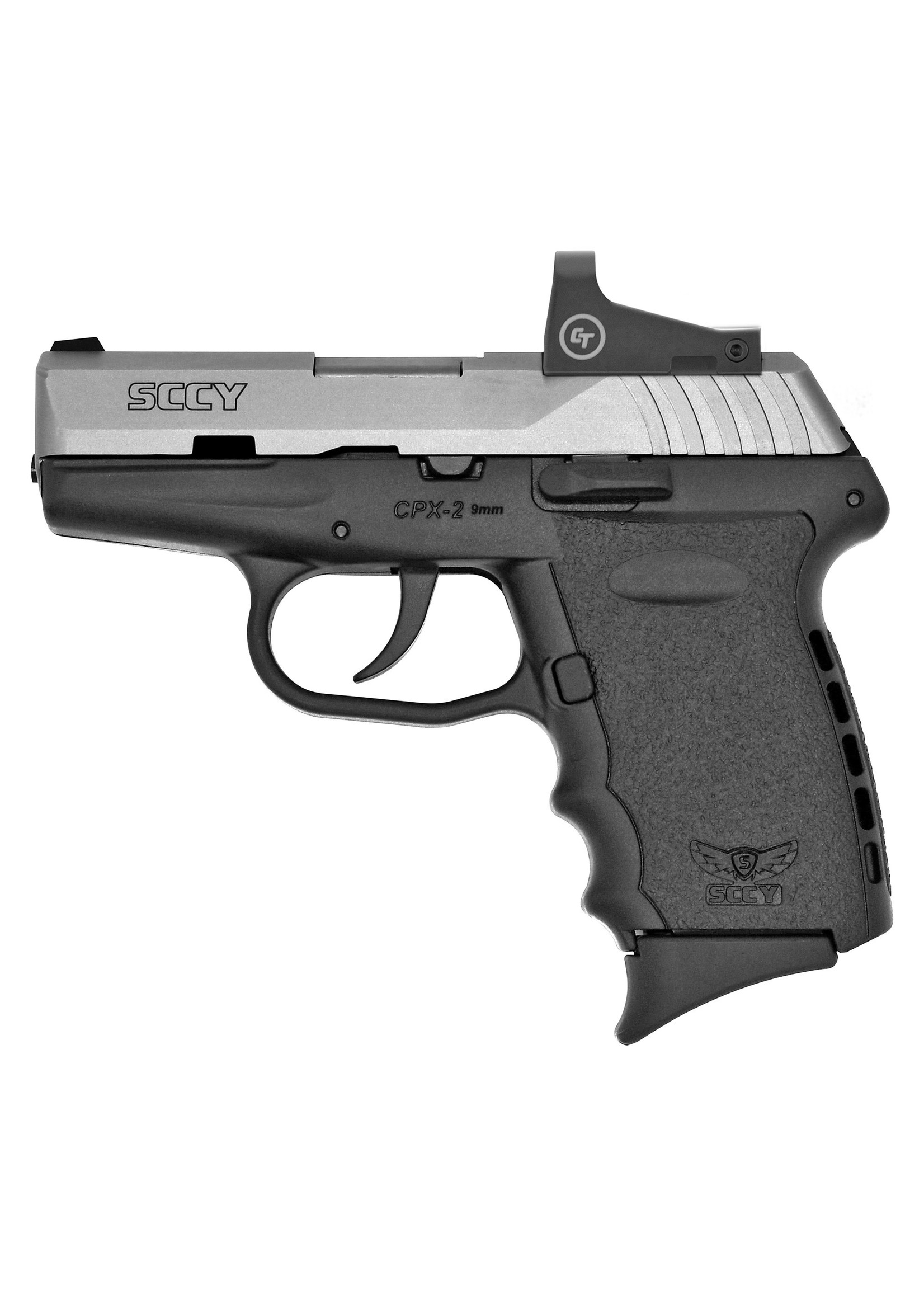 """Sccy Sccy Industries - CPX-2, 9mm, 3.1"""" Barrel, Red Dot Sight, No Safety, Stainless/Black, Two 10-rd Mags"""