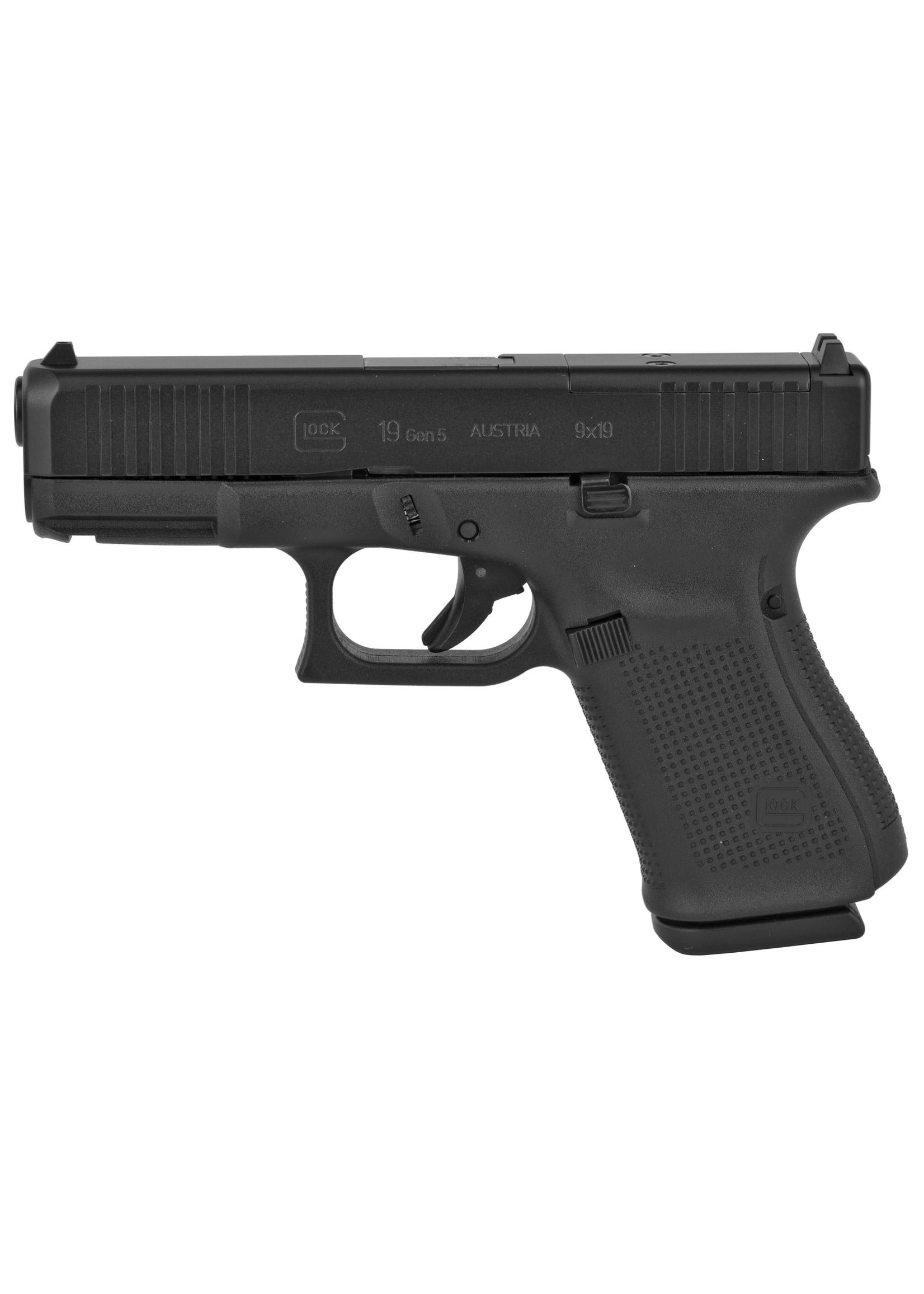 "Glock Glock 19 G5 MOS, 9MM, 4.02"" Marksman Barrel, Polymer Frame, Matte Finish, Fixed Sights, 15Rd, 3 Magazines"