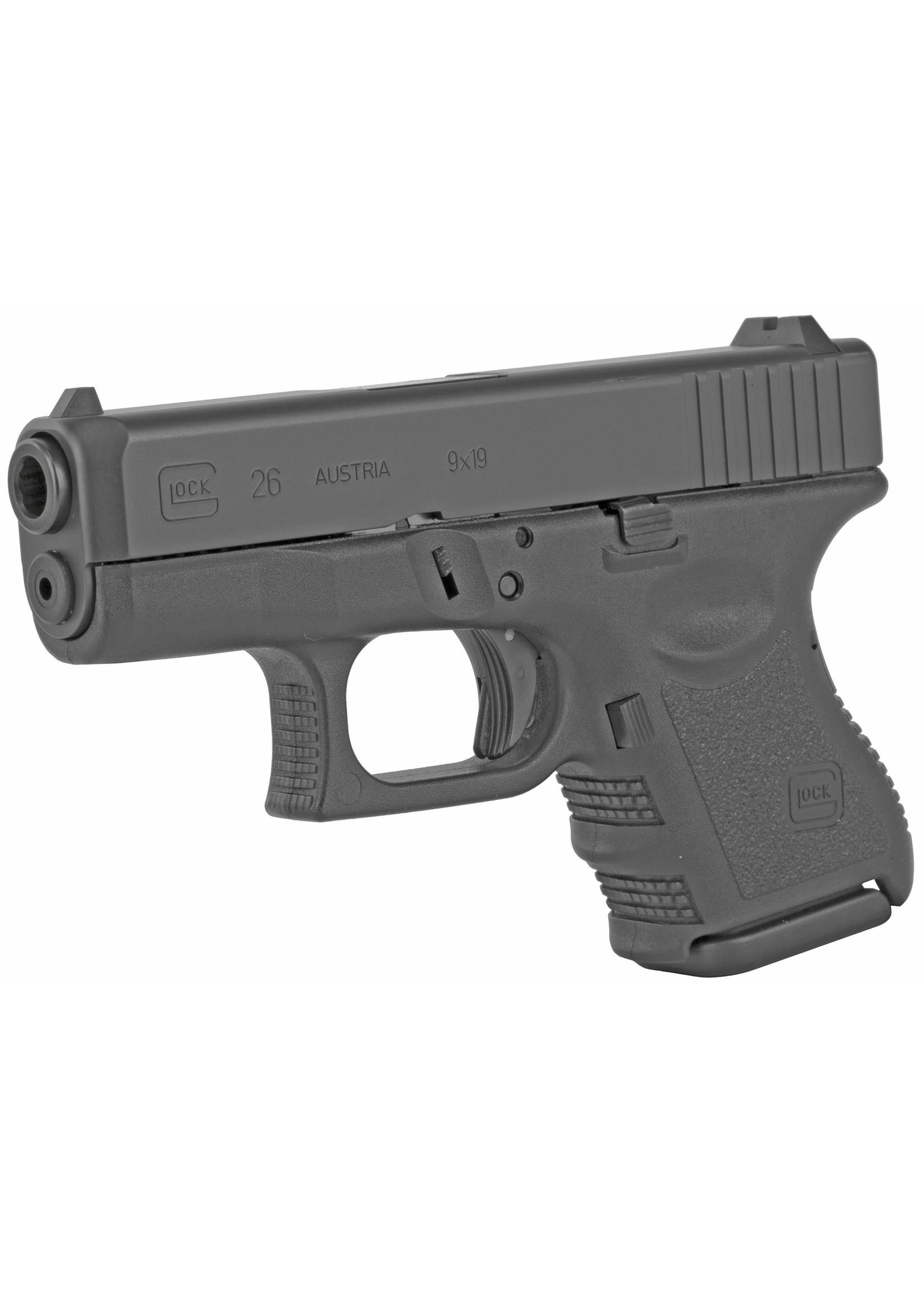 "Glock Glock 26 G3, 9mm, 10+1, 3.5"", Fixed sights, (2) 10rd Magazines, 9mm"