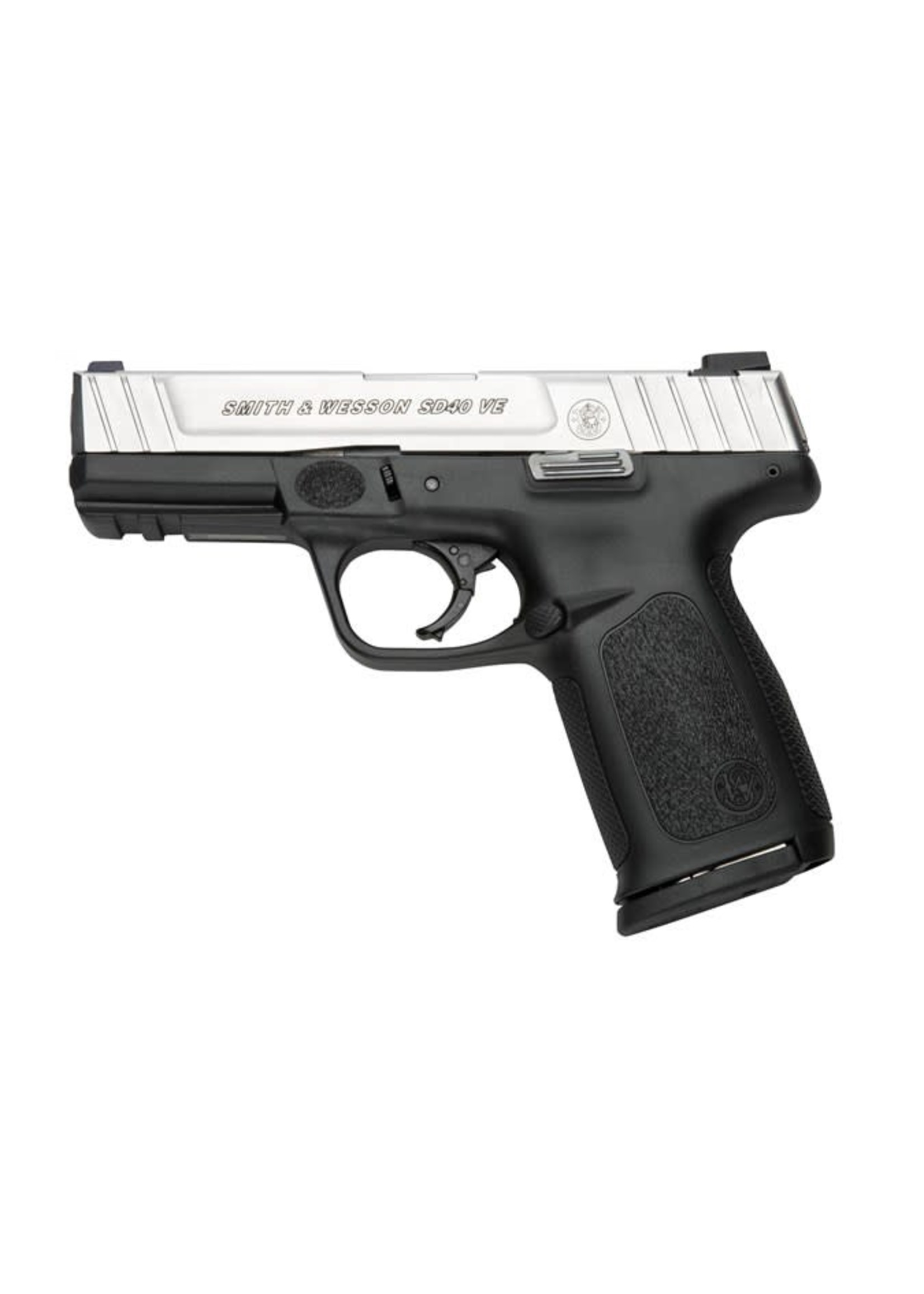 """Smith and Wesson (S&W) Smith & Wesson, SD40VE, Semi-Automatic, 40 S&W, 4"""" Barrel, Polymer Frame, Two-Tone Finish, Black Frame, Silver Slide, Fixed Sights, 14+1, 2 Magazines"""