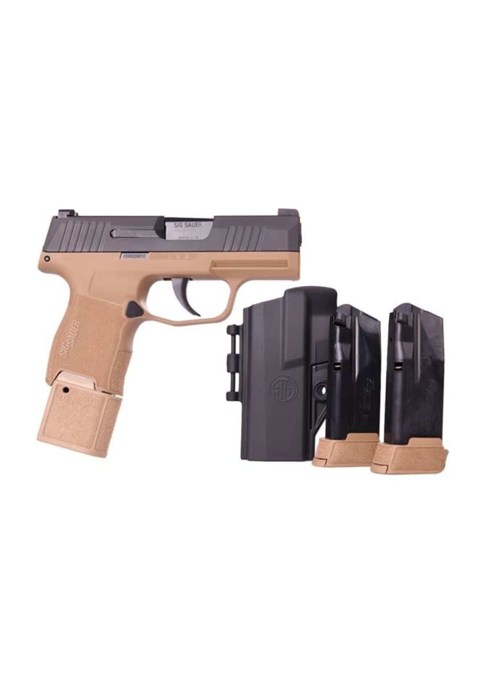 Sig Sauer Sig Sauer P365, 9mm, Black/FDE, 15+1, TacPac, 3 Magazines, 15+1, Night Sights, Includes Holster, Talo Exclusive
