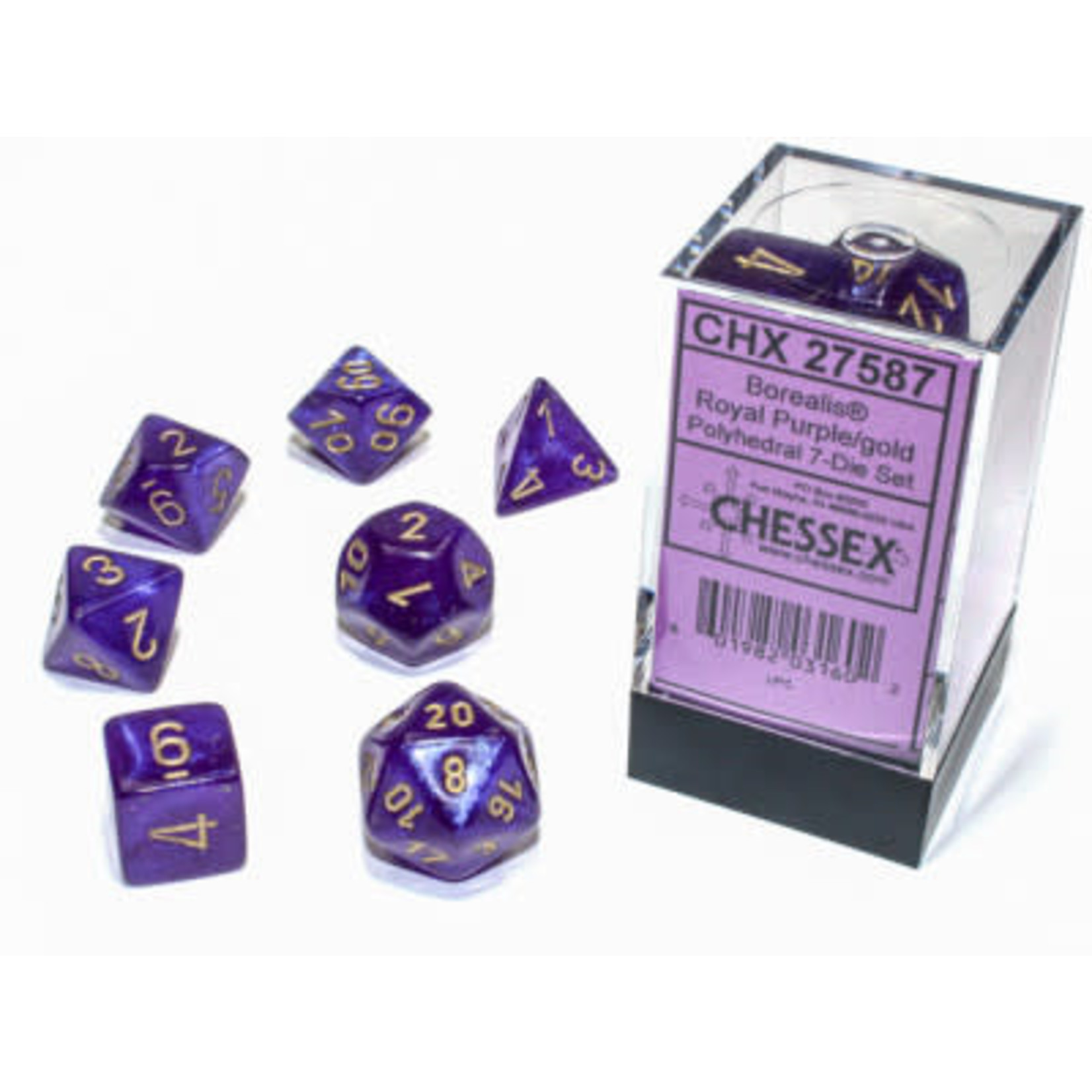Chessex Set 7D Poly Borealis Luminary Royal Purple/Gold