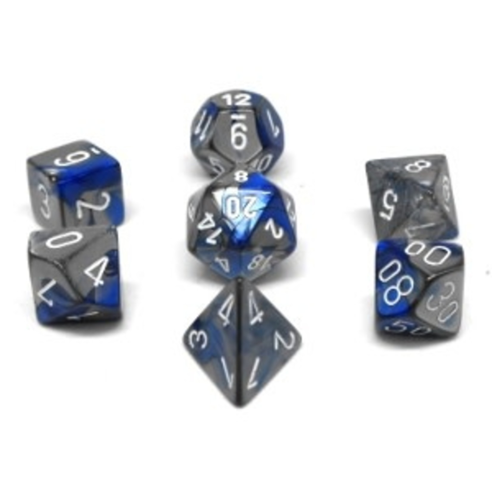 Chessex Set 7D Poly Gemini Blue-Steel with white numbers