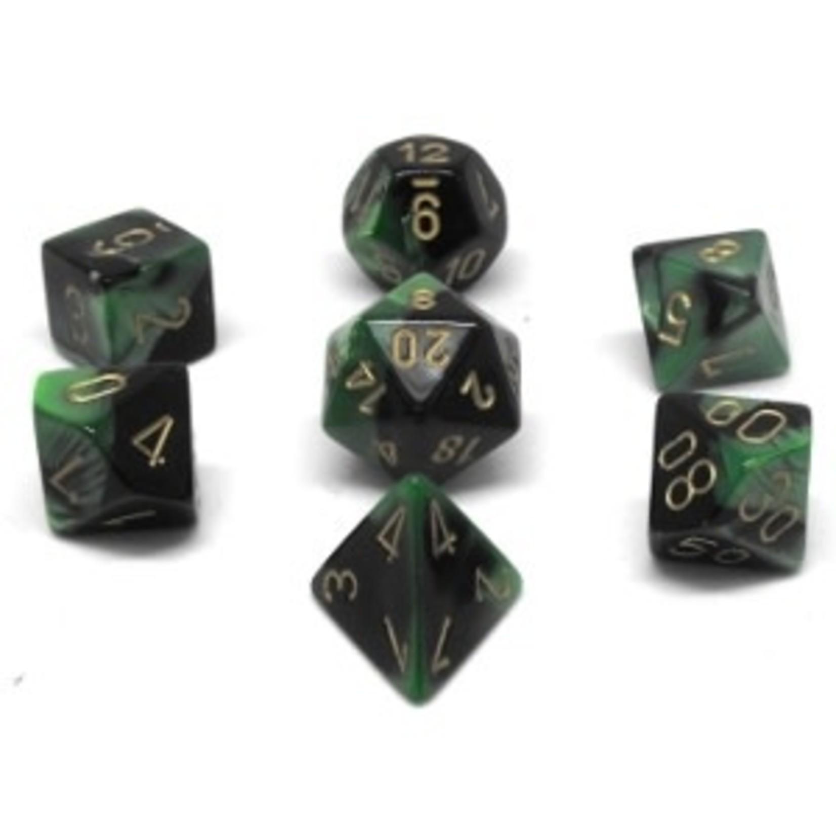 Chessex Set 7D Poly Gemini Black-Green/Gold