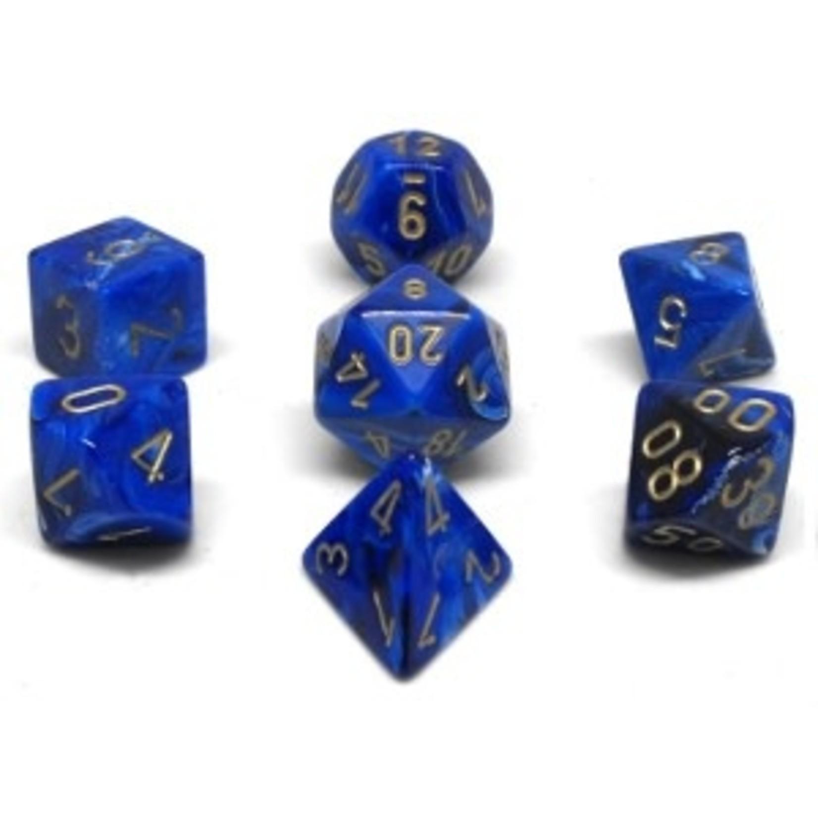 Chessex Set 7D Poly Vortex Blue/Gold