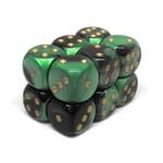 Chessex Brique 12 D6 Black-Green/Gold