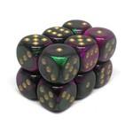 Chessex Brique 12 D6 Gemini Green-Purple/Gold