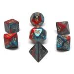 Chessex Set de 7D Gemini rouge/sarcelle avec chiffres or