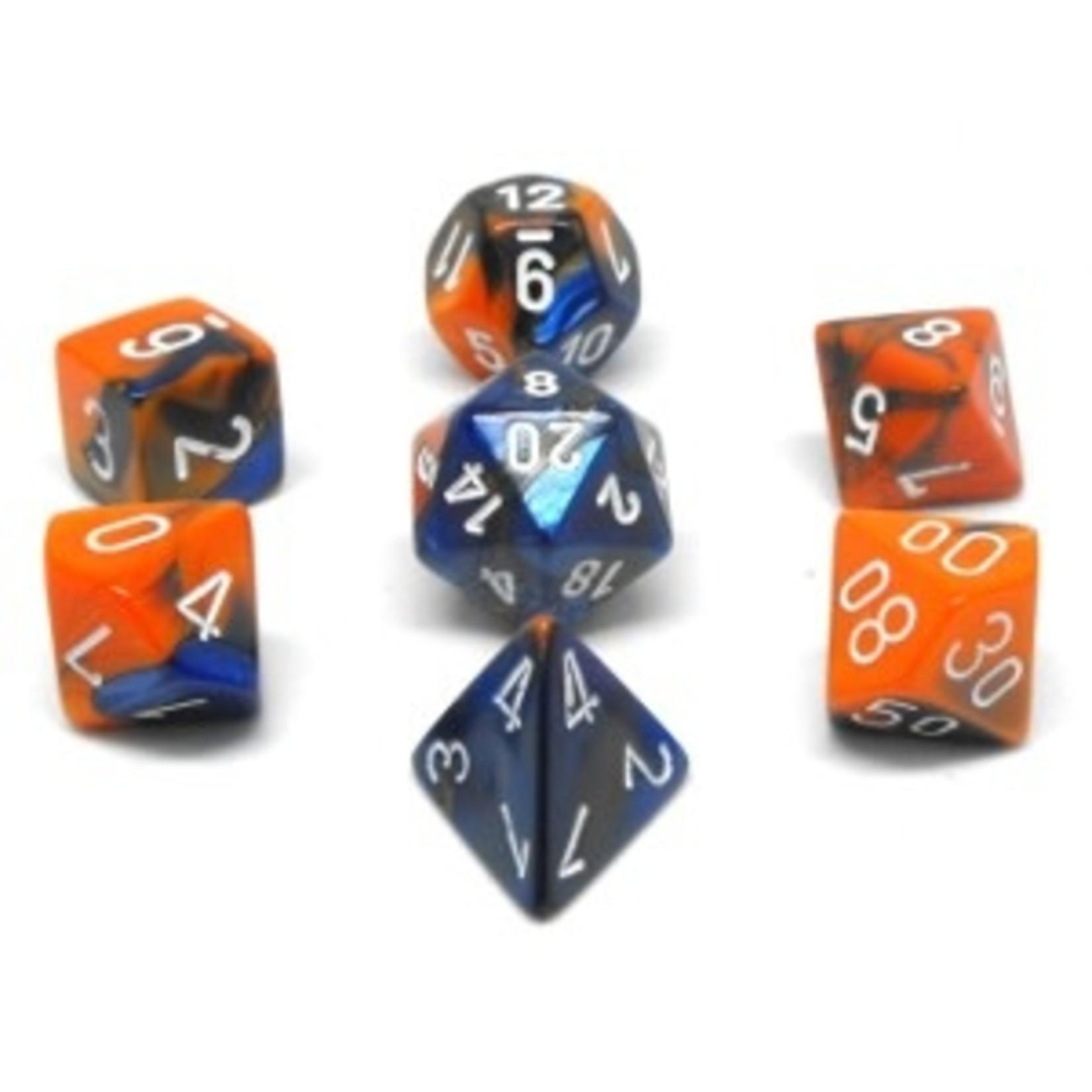 Chessex Set 7D Poly Gemini Blue-Orange/White
