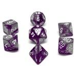 Chessex Set 7D Poly Gemini Purple-Steel/White