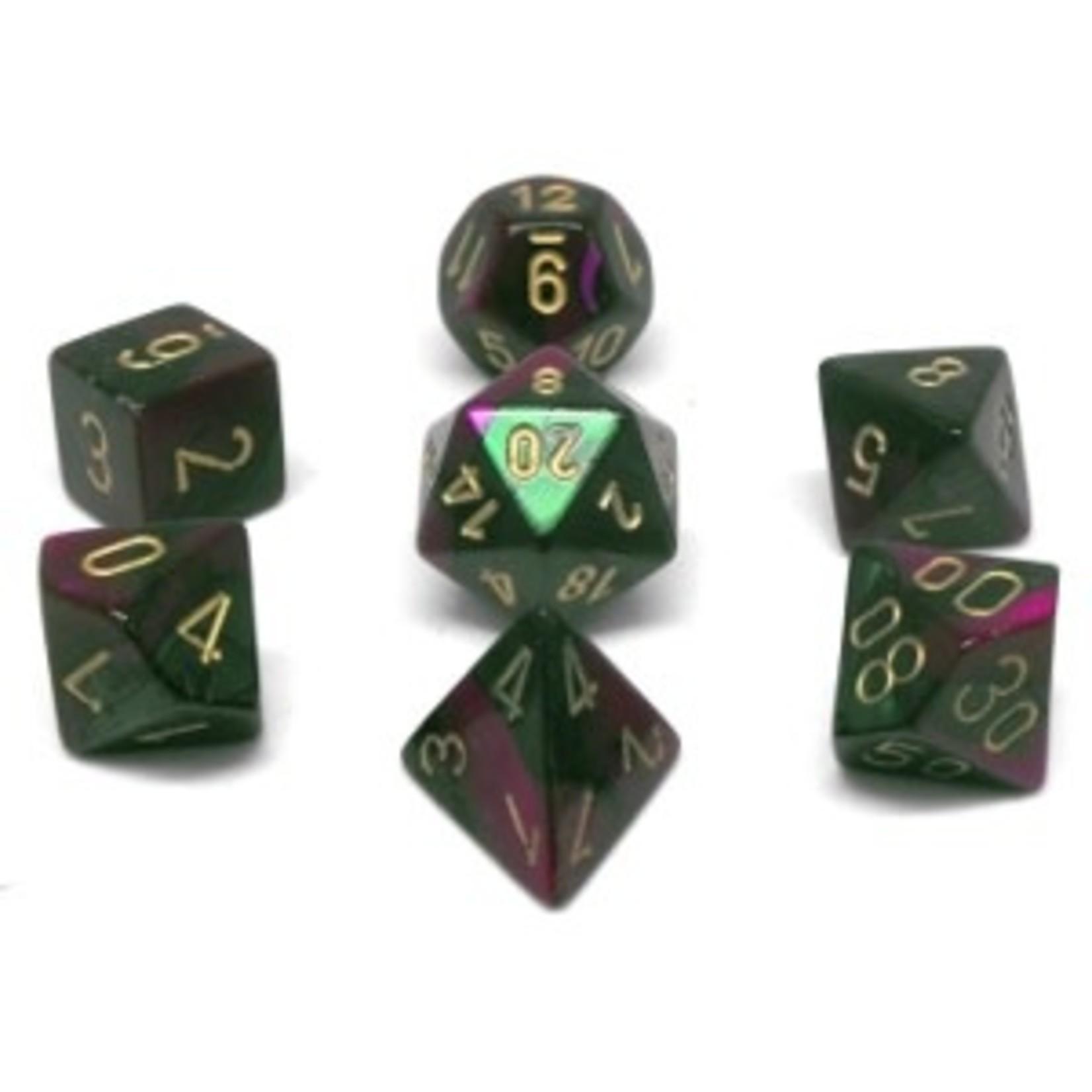 Chessex Set 7D Poly Gemini Green-Purple/Gold