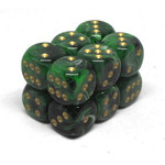 Chessex Brique de 12D6 16mm Vortex Green/gold