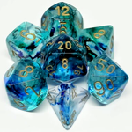 Chessex Set 7D Poly Luminary Oceanic/Gold Glow in the Dark