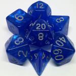 Metallic Dice Game Stardust: Bleus avec chiffres argent