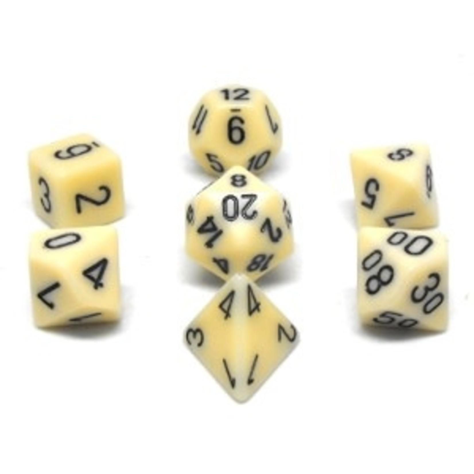 Chessex Set 7D poly opaques ivoire avec chiffres noirs