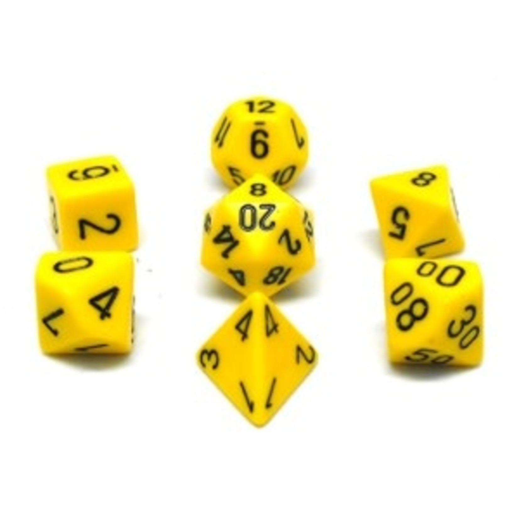 Chessex Set 7D Poly Yellow with black numbers