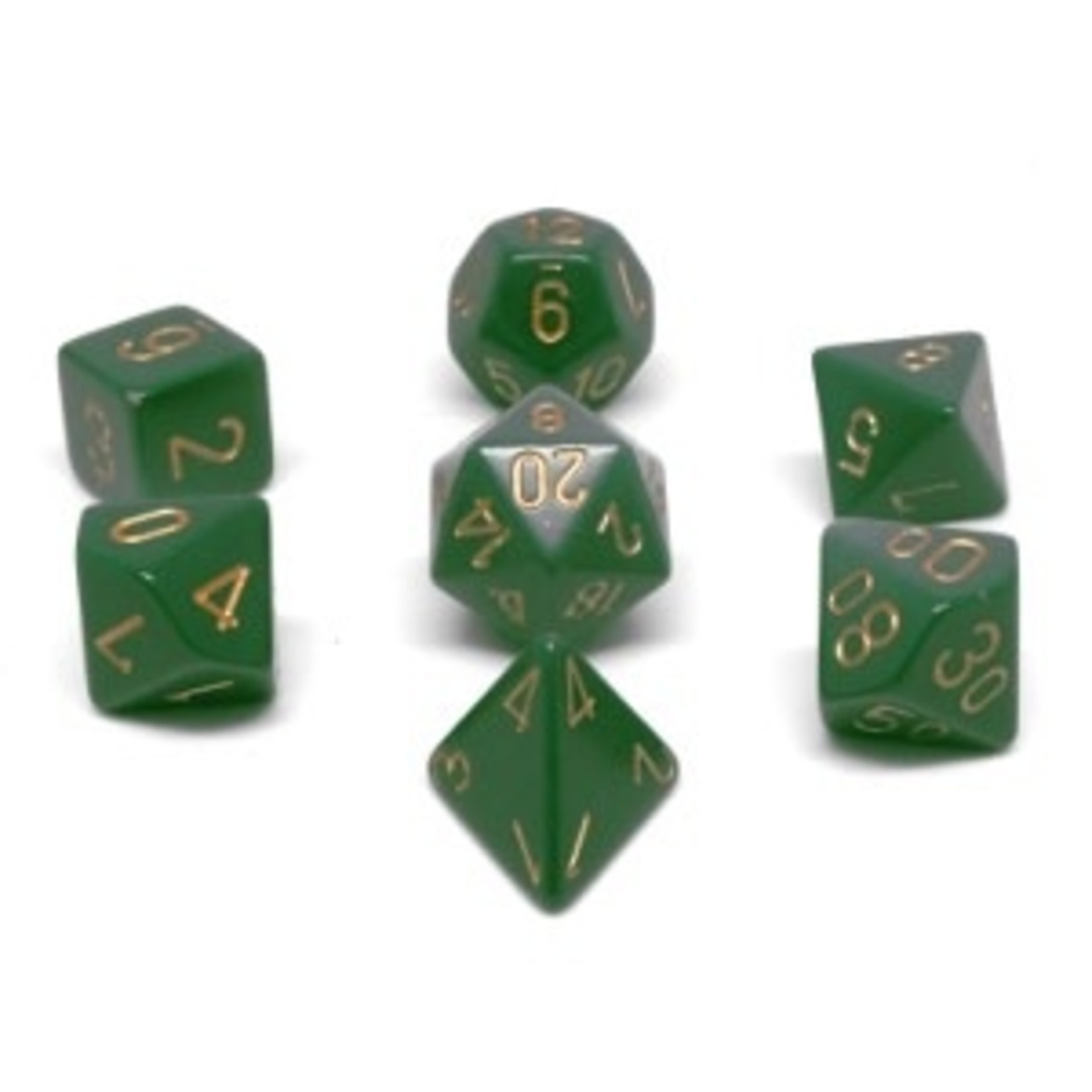 Chessex Set 7D Poly Dark green with copper numbers