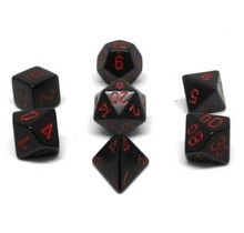 Set 7D Poly Opaque Black with Red numbers