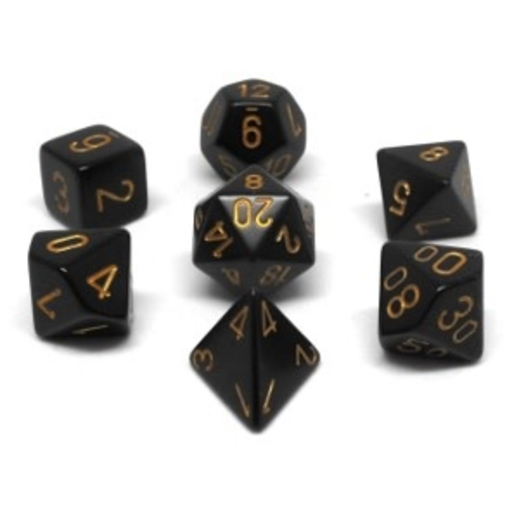 Chessex Set 7D Opaque Black with golden numbers
