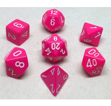 Set 7D Poly Opaque Pink with white numbers