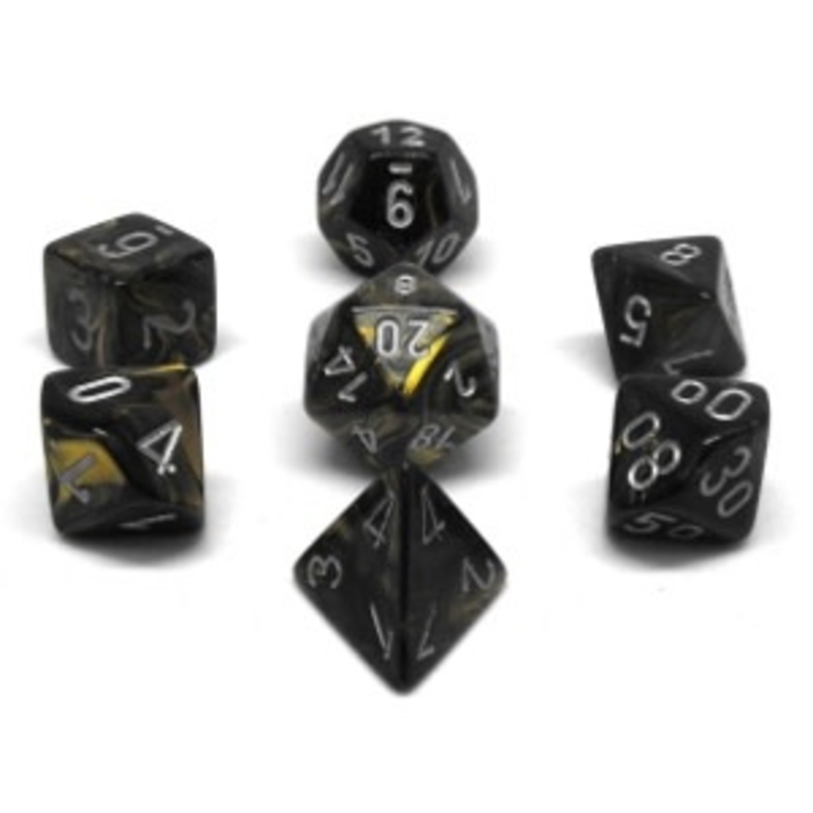 Chessex Set 7D Poly Scarab Black-Gold/Silver