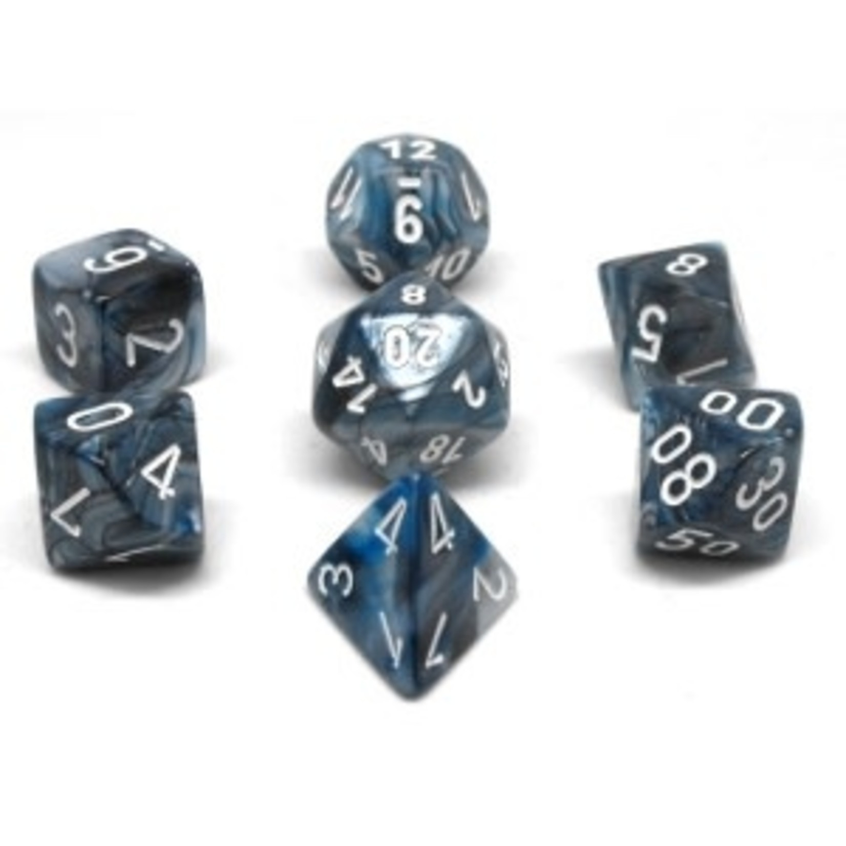 Chessex Set 7D Poly Lustrous Slate/White