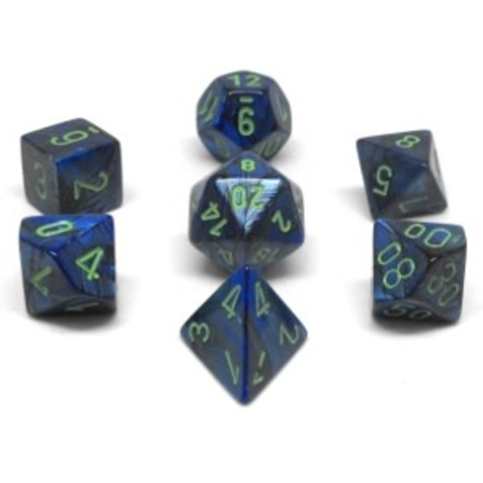 Chessex Set 7D Poly Lustrous Dark Blue/Green