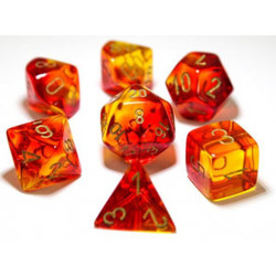 Set 7D Poly Lab Dice - Gemini Red-Yellow/Gold