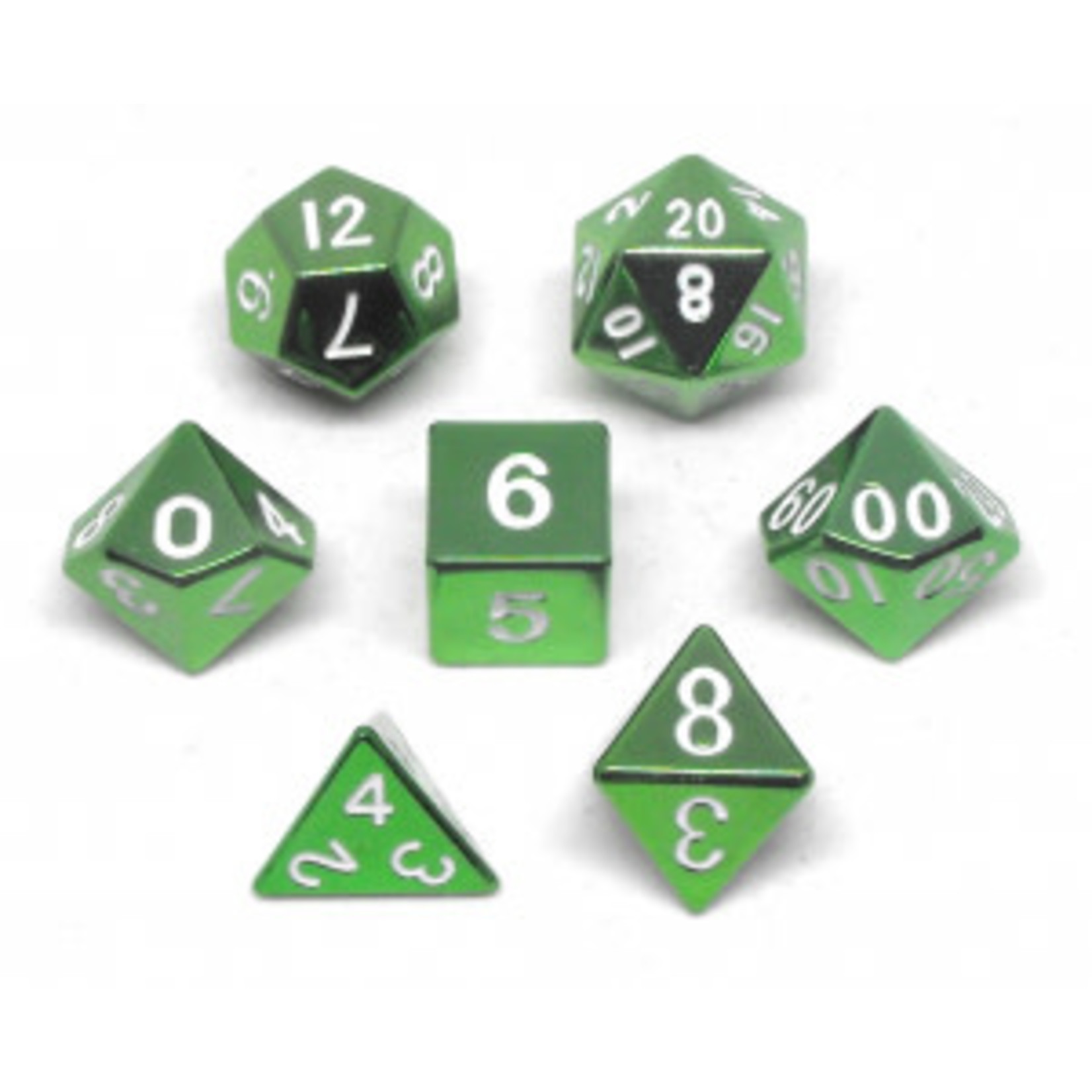 Metallic Dice Game Set 7D Poly Metallic Green/White
