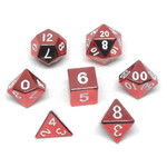 Metallic Dice Game Set 7D Poly Metallic Red/White